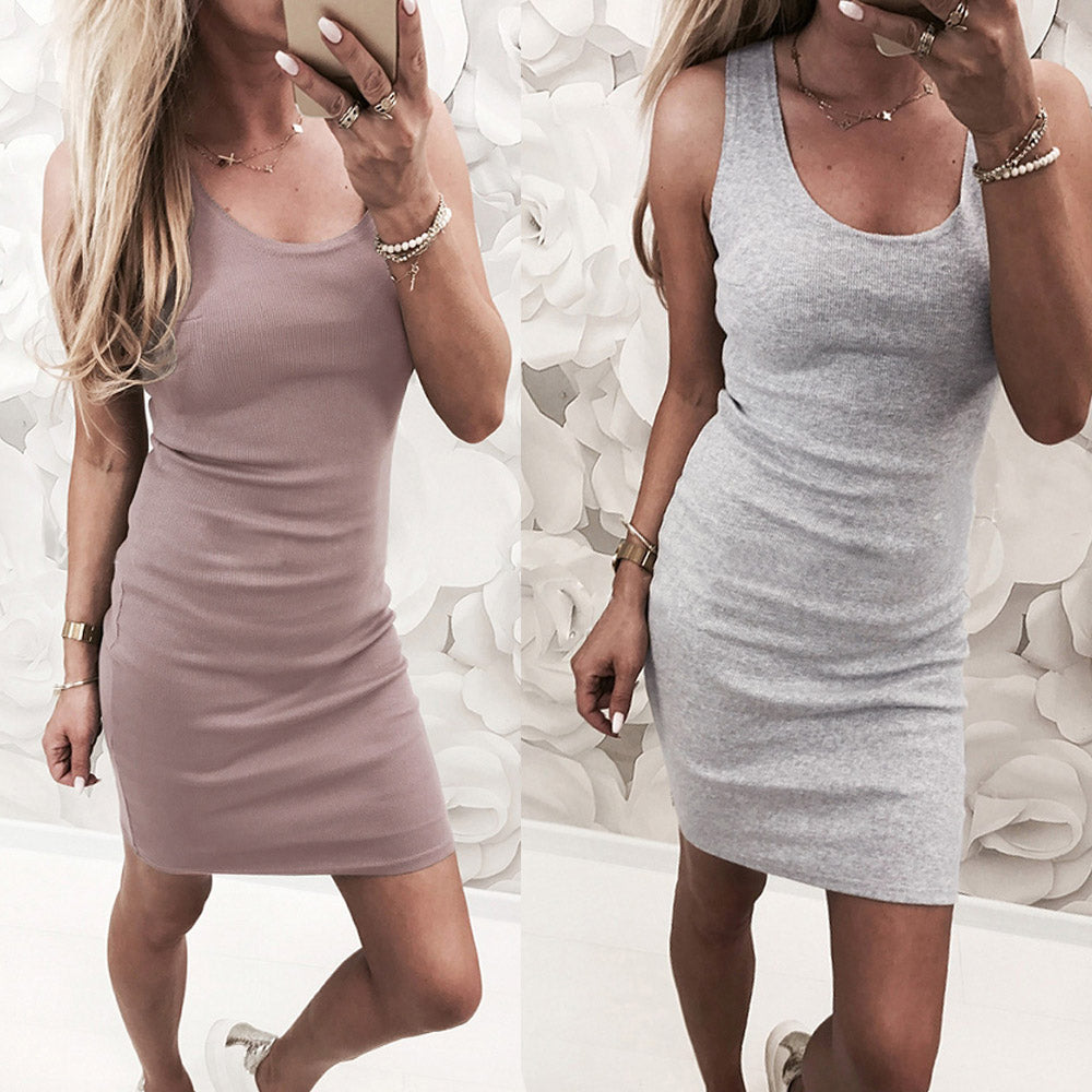 Women Sexy Casual Summer Sleeveless Pure Mini Slim Dress Bodycon Dress | Edlpe