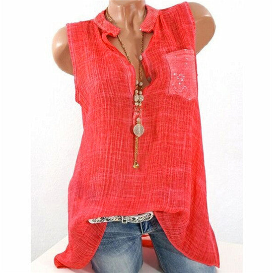 Women Sexy Sleeveless Vest Top Shirt V Neck Pocket Casual Tee Tops Blouse | Edlpe