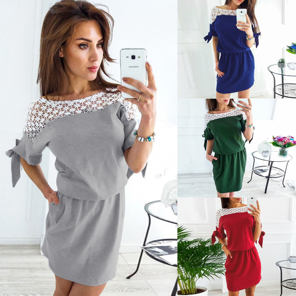 Women Sexy Lace Bandage Spliced Waist Pocket Dress | Edlpe