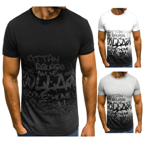 Mens Slim Fit O Neck Short Sleeve Tee Letter Print Casual Tops T-Shirt Muscle Blouse L-3Xl | Edlpe
