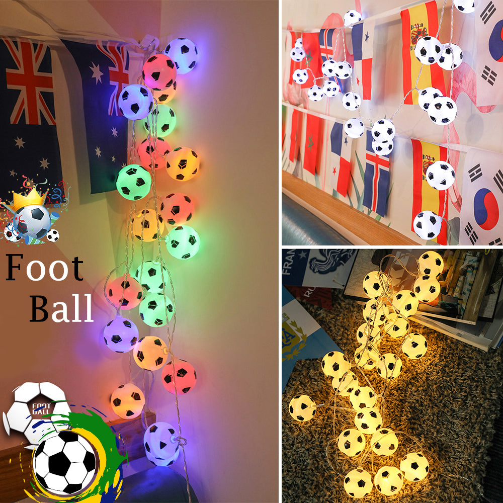 Football Led String Light 10Balls 20Balls Nightlight Children Decor Fairy Light World Cup Decor | Edlpe