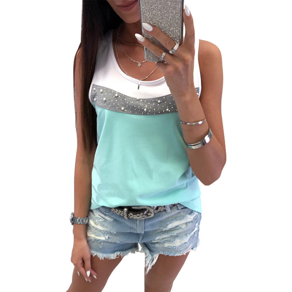 Women Sleeveless Patchwork Vest Tank Tops Summer Holiday Party T Shirt Blouse | Edlpe