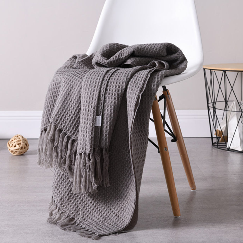 Tassels Waffle Weave Blanket Warm Soft Cotton Sofa Cover Baby Blanket Bedspread 52*63 | Edlpe