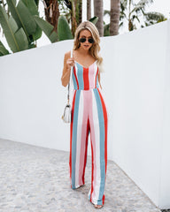 Women Summer V-neck Backless Bowknot Sling Long Jumpsuit Casual Striped Playsuit
