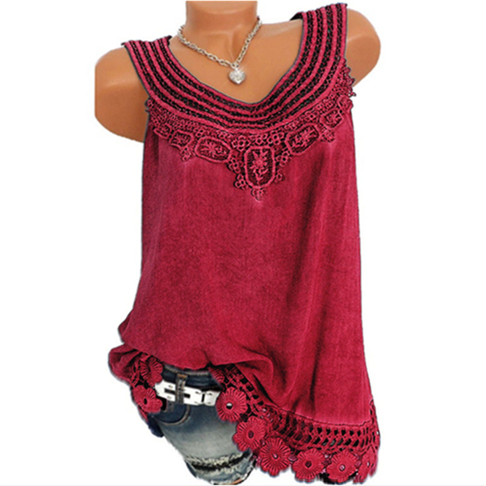 S-5Xl Women Sleeveless Lace Baggy Summer Casual Vest Tank Top Blouse Plus Size | Edlpe