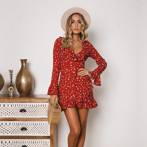 Women Floral Mini Dress Bell Long Sleeve Ruffle Summer Beach Holiday Dress | Edlpe