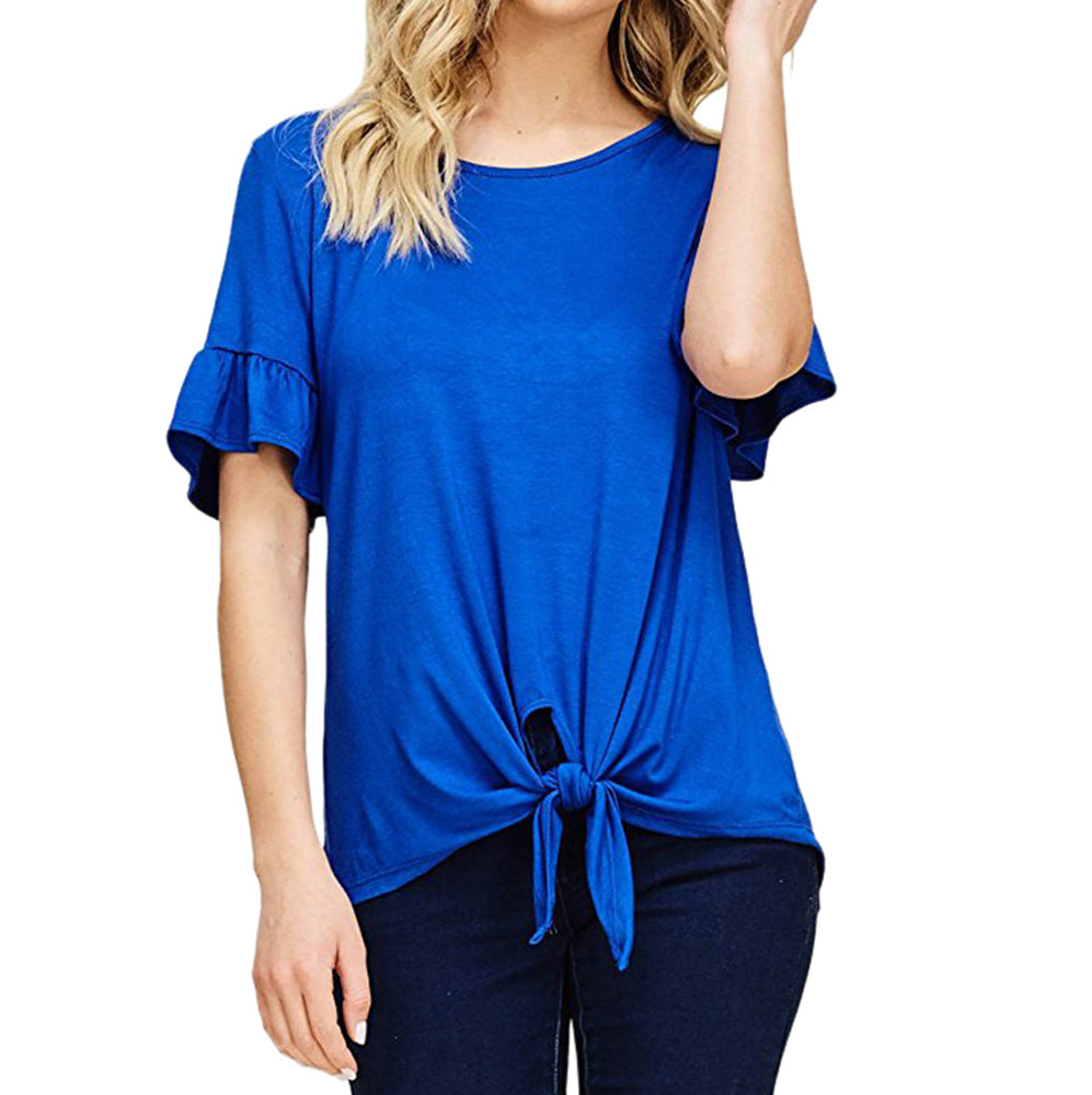 Women Summer Loose Lace Up Top Short Sleeve Blouse Casual Tops T Shirt | Edlpe