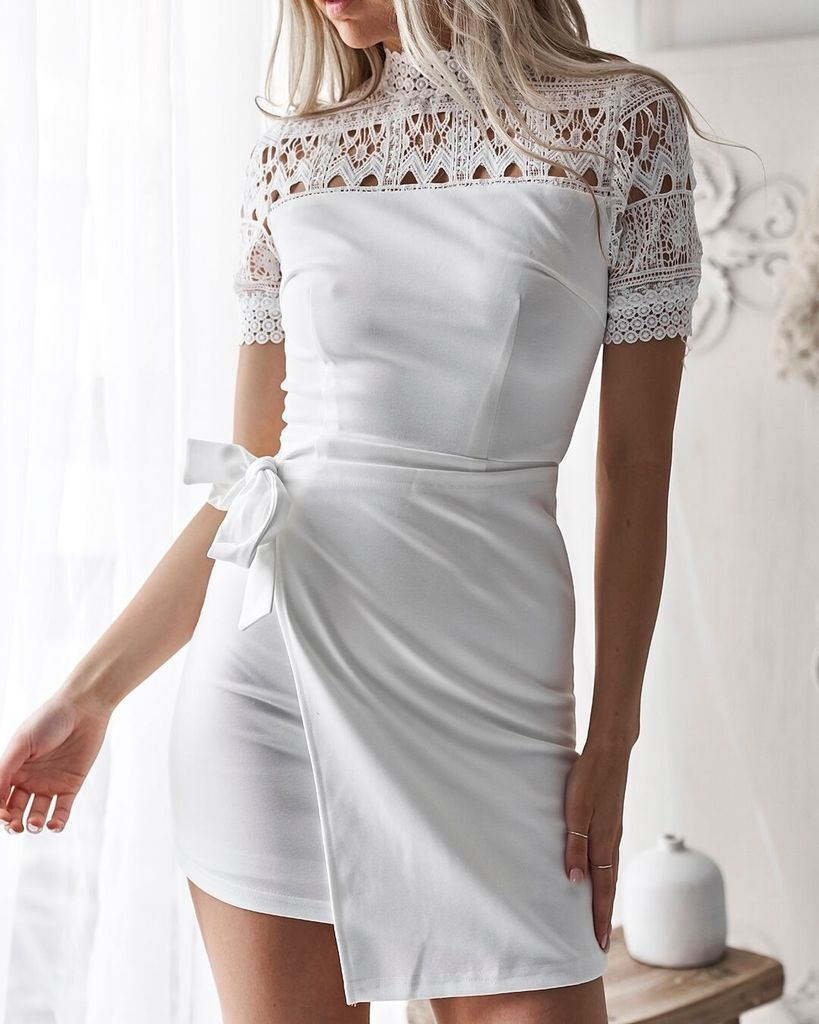 Women Sexy Floral Lace Short Mini Dress Cocktail Party Bodycon Wrap Dress | Edlpe