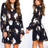 Image of Women Long Sleeve Floral Dress Cocktail Party Short Mini Skater Dress | Edlpe