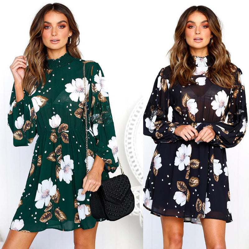 Women Long Sleeve Floral Dress Cocktail Party Short Mini Skater Dress | Edlpe