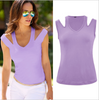 Image of Women Sexy Cold Shoulder T Shirt Summer Plain Vest Causal Tops | Edlpe