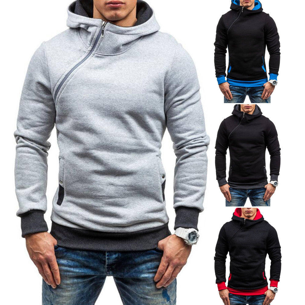 Fashion Men Diagonal Zip Hoodie Jacket Jumper Adult Fleece Hooded Casual Sweatshirt Top | Edlpe
