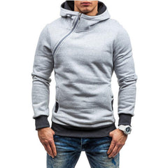 Fashion Men Diagonal Zip Hoodie Jacket Jumper Adult Fleece Hooded Casual Sweatshirt Top