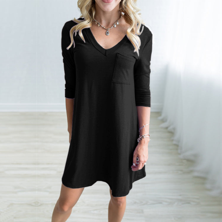 Women Sexy V Neck Backless Long Sleeve Pocket Causal Mini Dress | Edlpe