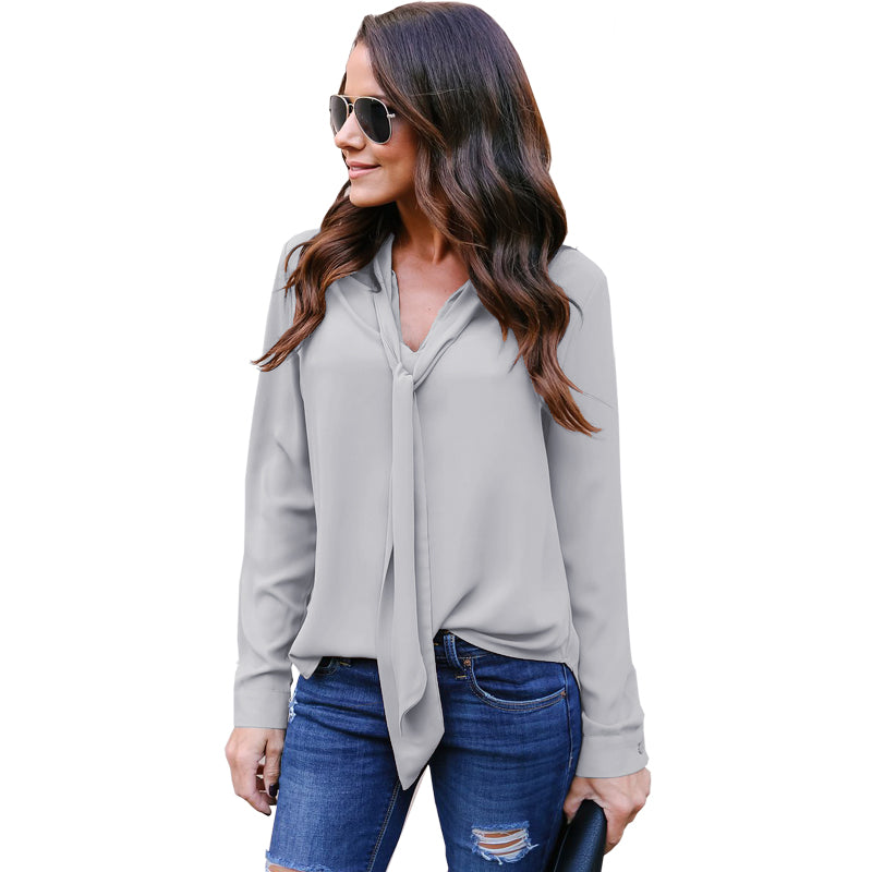 Women Long Sleeves V Neck Necktie Chiffon Blouse Ladies Tie Casual Formal Tops Shirt | Edlpe