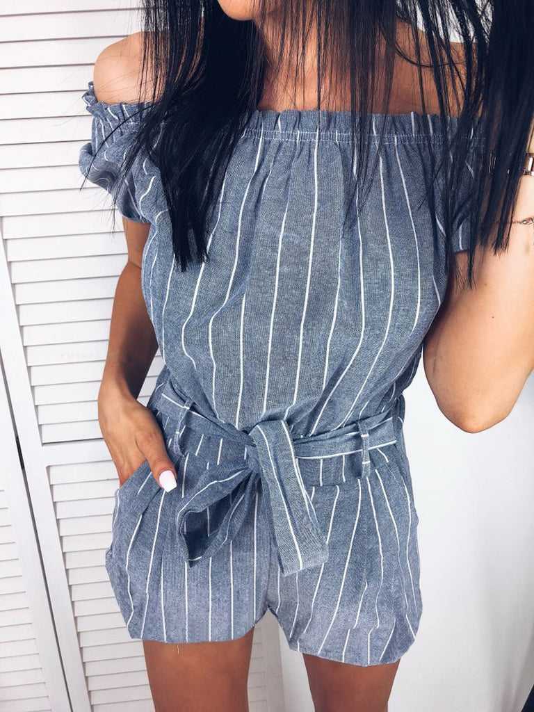 Fashion Women Off Shoulder Stripe Jumpsuit Belt Waist Mini Playsuit Casual Rompers | Edlpe