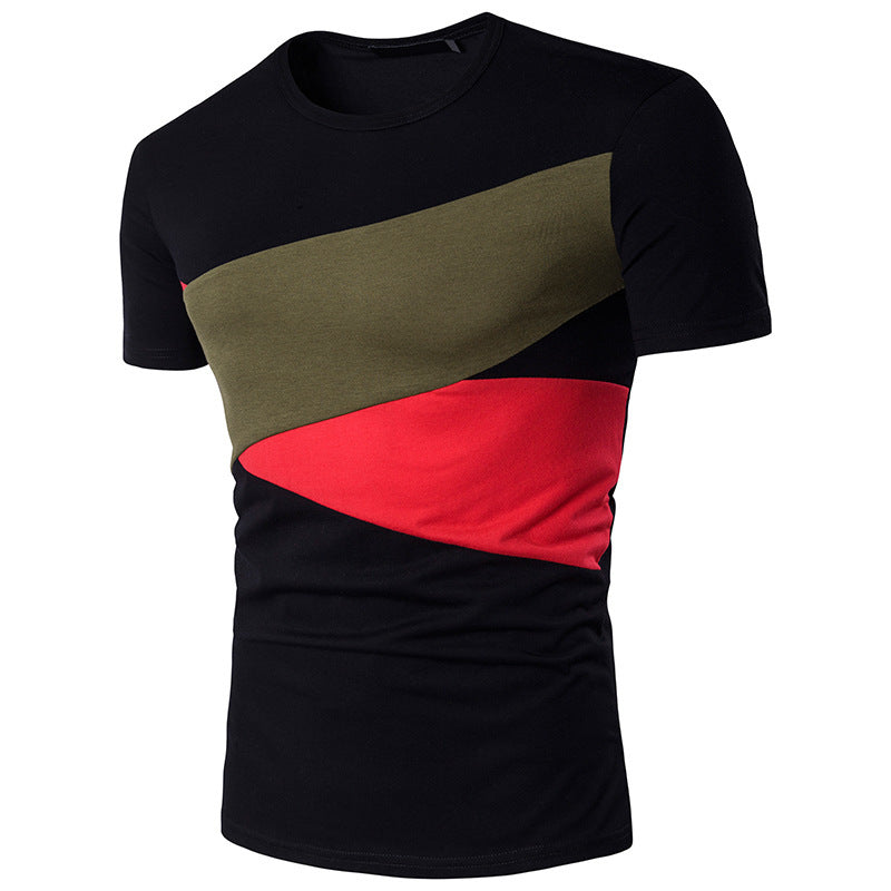 Summer Fashion Men Short Sleeve Color Patchwork T-Shirts Casual Slim Fit Muscle Tops Blouse Tee | Edlpe