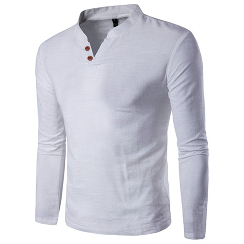 Fashion Mens Long Sleeve V Neck Casual T-Shirt Slim Fit Solid Button Blouse Tops Plus Size | Edlpe