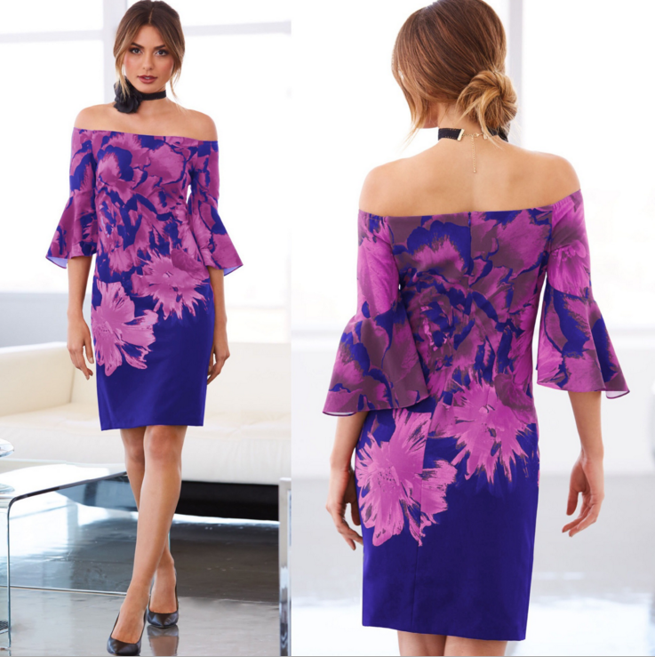 Women Elegant Dress Off Shoulder Floral Flare Sleeve Summer Festive Formal Dress | Edlpe