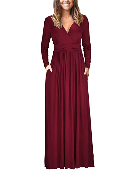 Women Sexy High Waist Pleated Long Sleeve Maxi Dress Evening Party Gown Clubwear | Edlpe