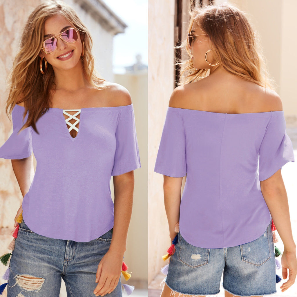 Women Sexy Plain Off Shoulder Top Casual Short Sleeve Blouse Chic Loose Shirt | Edlpe