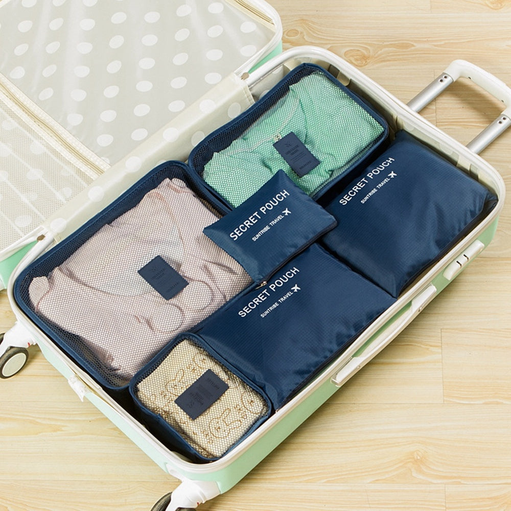 6Pcs Waterproof Travel Storage Cube Organizer Packing Storage Bag Tidy Portable Luggage Kit | Edlpe
