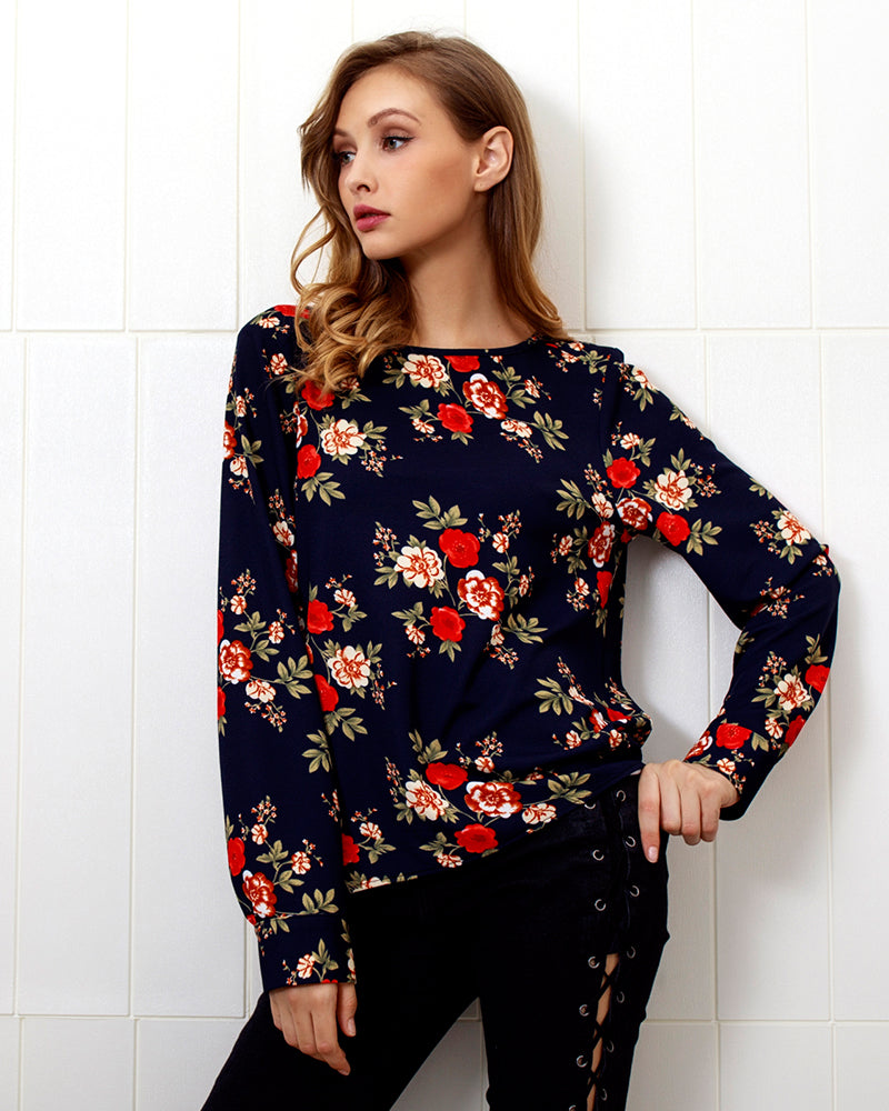 Fashion Women Long Sleeve Floral Top Back Zipper Split Blouse Casual Long Tops | Edlpe