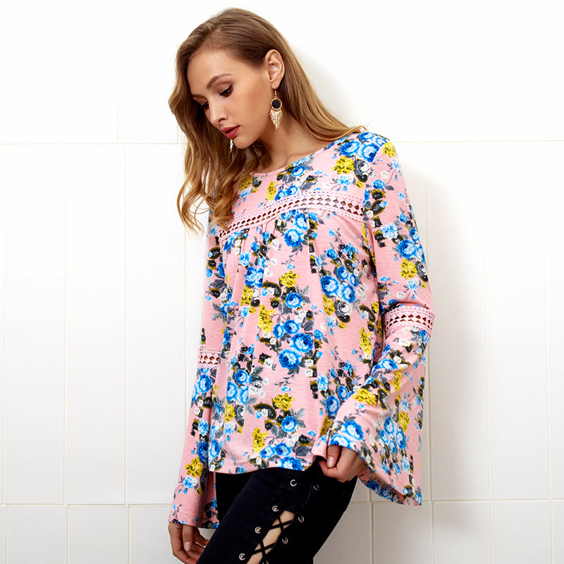 Women Flare Sleeve Floral Patchwork Tops Loose Casual Crew Neck Hollow Out Blouse T-Shirt | Edlpe