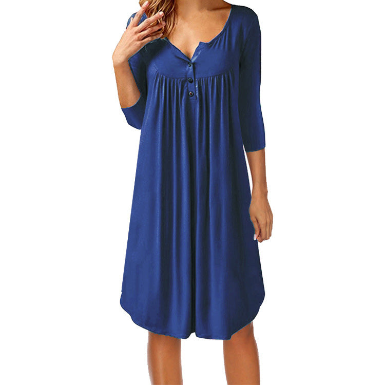 Women Summer Casual Buttons V Neck Pleated Loose Swing Shirt Dress Long Blouse | Edlpe