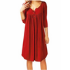 Image of Women Summer Casual Buttons V Neck Pleated Loose Swing Shirt Dress Long Blouse | Edlpe