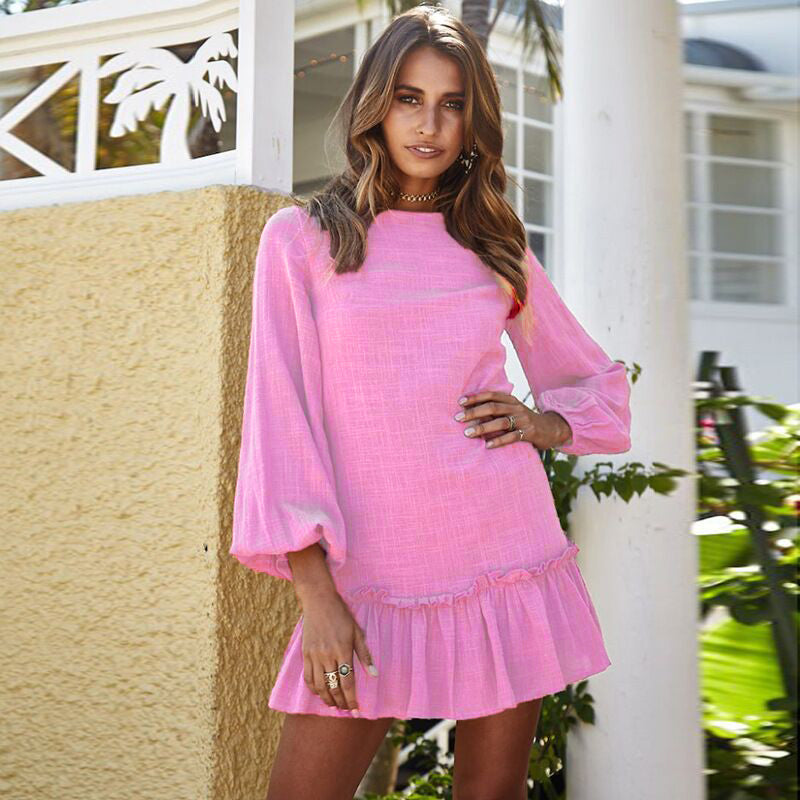 Women Holiday Long Sleeve Mini Short Dress Ladies Party Ruffle Dress | Edlpe
