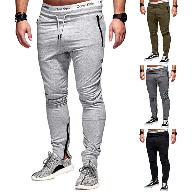 Fashion Men Slim Fit Zipper Long Pants Trousers Solid Casual Pants Sweatpants Plus Size Xl-3Xl | Edlpe