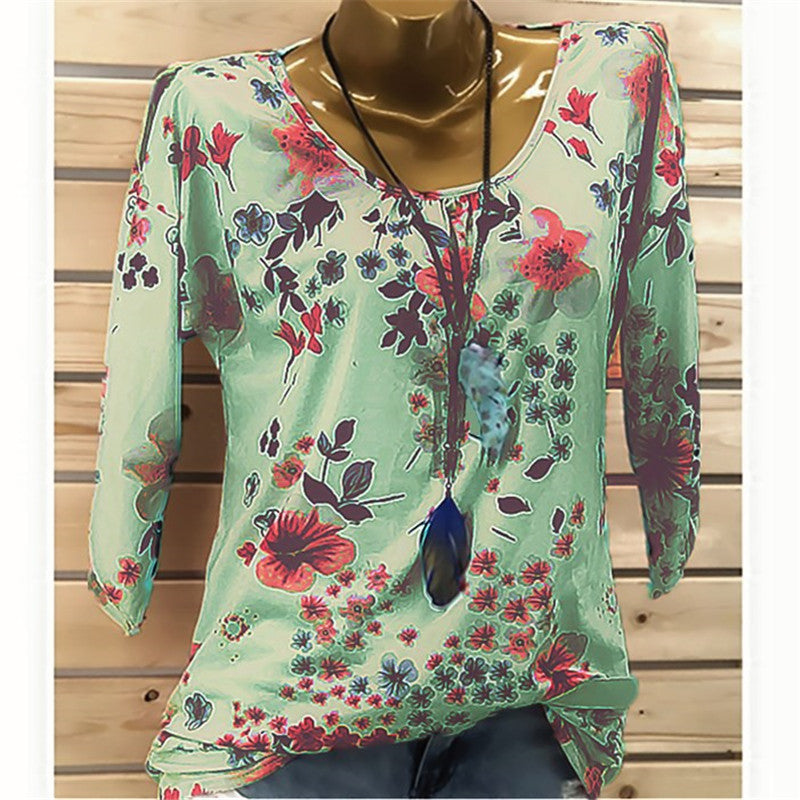Women Summer Floral Print Crew Neck Tops T Shirt Ladies Summer Boho Loose Blouse | Edlpe