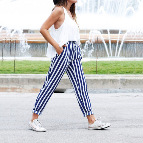 Women High Waist Striped Trousers Ladies Fit Cigaratte Casual Pants | Edlpe