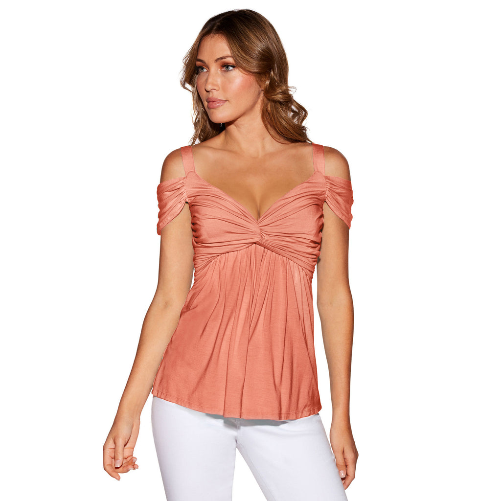 Sexy Women V Neck Cold Shoulder Tops Blouse Summer Casual Tunic Swing T Shirt | Edlpe