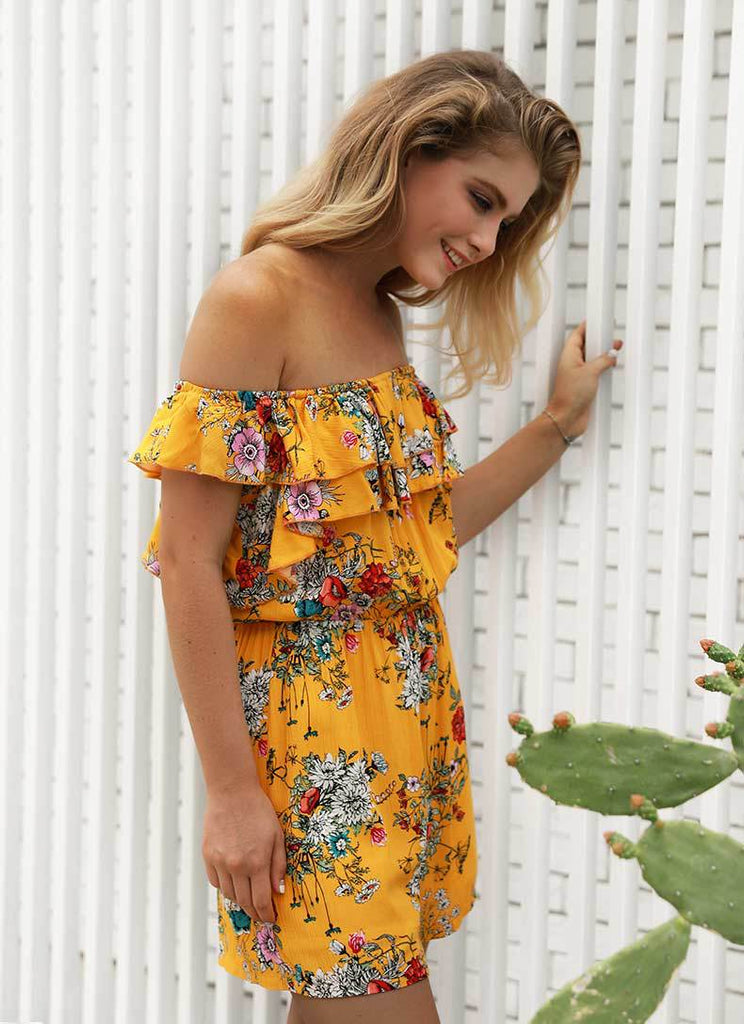 Sexy Women Off Shoulder Ruffle Frill Jumpsuit Casual Holiday Beach Floral Yellow Mini Playsuits | Edlpe