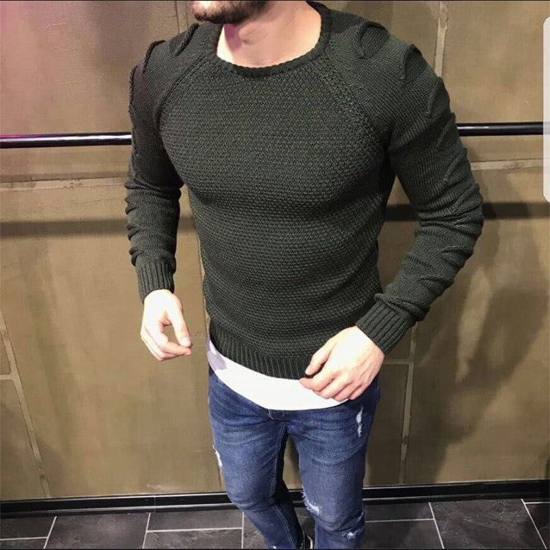 Mens Raglan Sleeve Slim Fit Jumpers Fashion Crew Neck Solid Color Sweater Pullover Tops | Edlpe