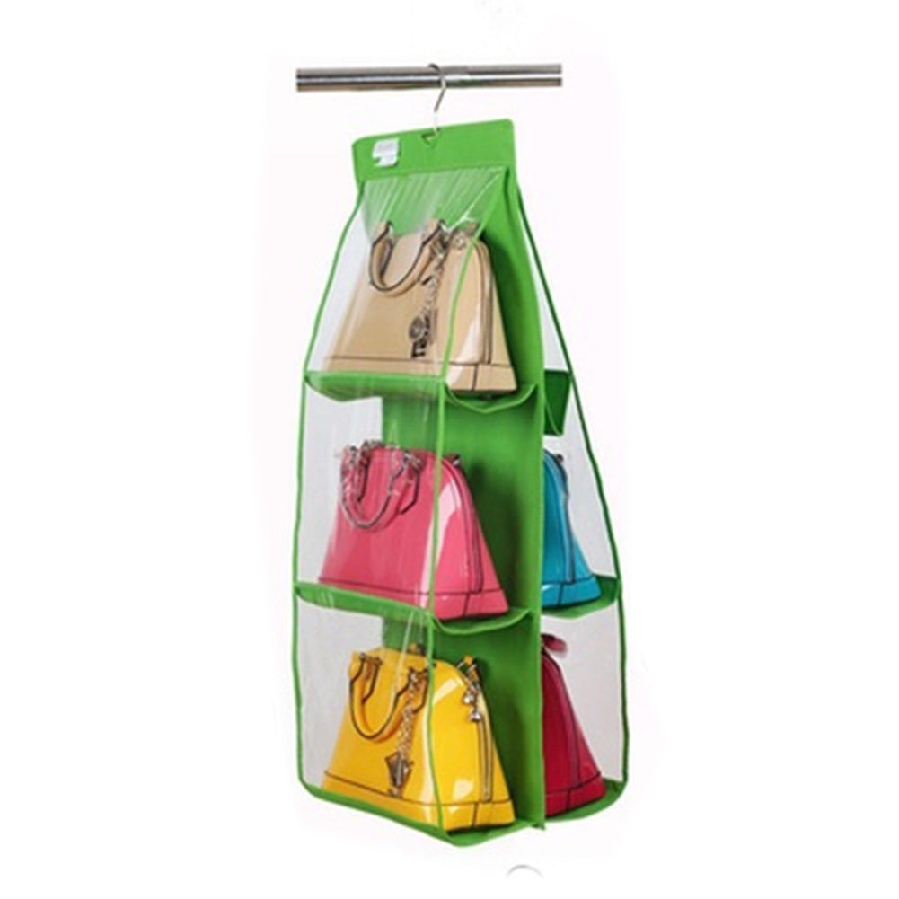 6 Pocket Clear Shelf Bags Purse Handbags Organizer Door Storage Closet Hanger Useful Storage Bag | Edlpe