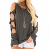 Image of Women Long Sleeve Cut Out Cold Shoulder Tops Loose Casual Blouse Shirts Pullover | Edlpe