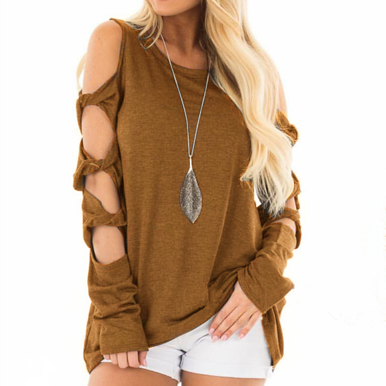 Women Long Sleeve Cut Out Cold Shoulder Tops Loose Casual Blouse Shirts Pullover | Edlpe