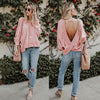 Image of Fashion Women Personality O Neck Backless Tops Long Sleeve Casual Loose Blouse Tee | Edlpe