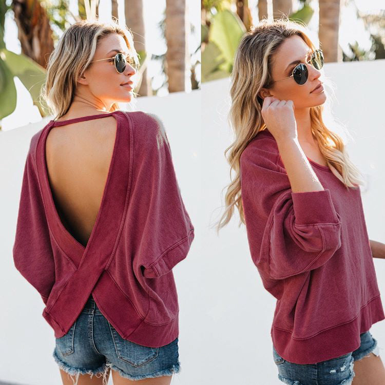 Fashion Women Personality O Neck Backless Tops Long Sleeve Casual Loose Blouse Tee | Edlpe
