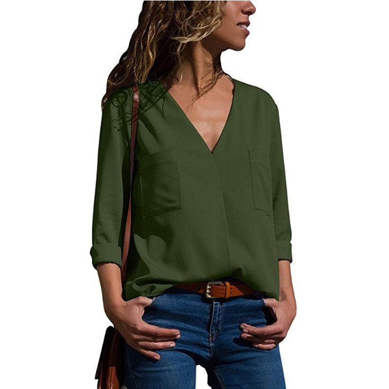 Women Chiffon Long Sleeve Blouse Loose Tops Ladies Casual V Neck Plain Shirt | Edlpe