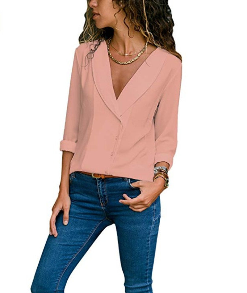 Women Button V Neck Chiffon Blouse Shirt Long Sleeve Casual Loose Top T Shirt | Edlpe
