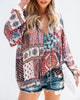 Image of Women Boho V Neck Blouse Long Sleeve Casual Loose Holiday Tops | Edlpe