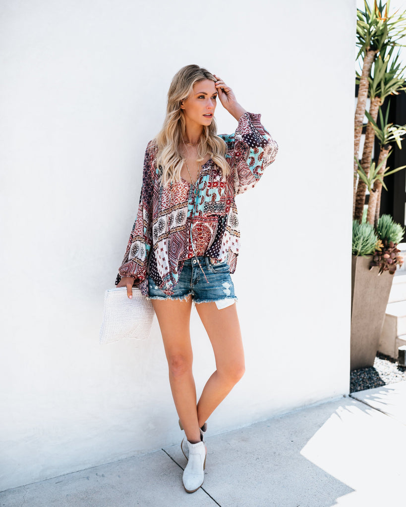 Women Boho V Neck Blouse Long Sleeve Casual Loose Holiday Tops | Edlpe