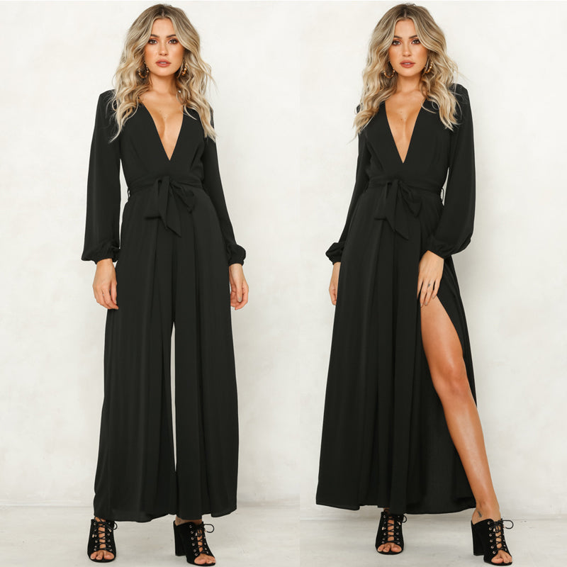 Women Sexy Deep V Neck Long Sleeve Bandage Side Split Jumpsuit Wide Leg Playsuit Romper | Edlpe