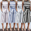 Image of Women Sleeveless Striped Jumpsuit Hollow Waist Casual Loose Long Trouser Rompers | Edlpe
