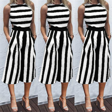Women Sleeveless Striped Jumpsuit Hollow Waist Casual Loose Long Trouser Rompers | Edlpe