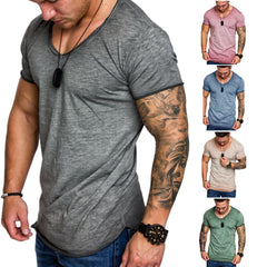 Summer Mens Crew Neck Short Sleeve Tops Slim Fit T-Shirt Casual Sport Tee Asian Size L-3Xl | Edlpe
